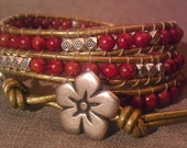 Garnet Red Leather 3 Wrap and Tibetan Silver Bead Bracelet