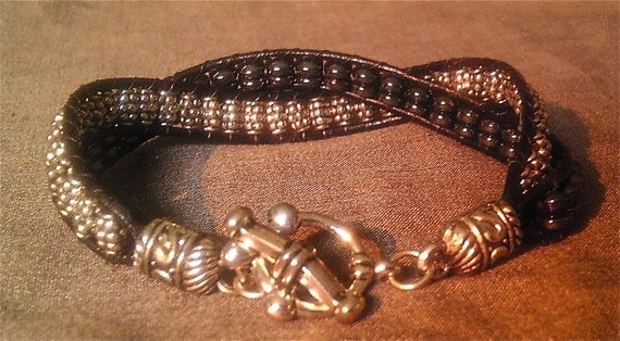 Leather Wrap Tibetan Silver and Hematite Beaded Bracelet with Silver  Clasp