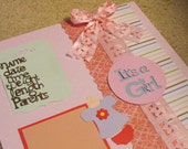 12x12 It's a Girl Premade Scrapbook page, New Arrival Picture, Baby Girl Memory Keepsake