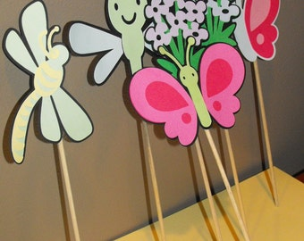 Dragon Fly and Butterfly Cake Toppers, Butterflies Cake Toppers