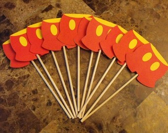 Mickey Mouse Pants Cupcake Toppers, Mickey Mouse Birthday Cake Toppers