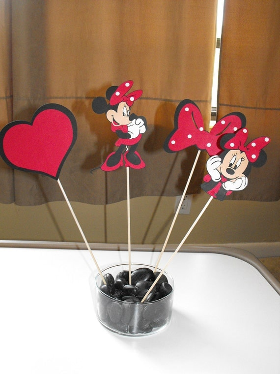 Minnie Mouse Centerpiece, Minnie Mouse Cupcake toppers red and white polka dot
