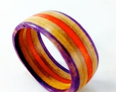 Recycled Skateboard Wood Ring Size 9 1/2