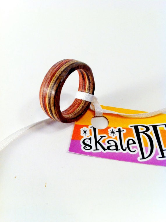 Recycled Skateboard Wood Ring Size size 7.5
