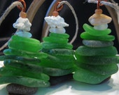 Sea glass stacked kelly greens brown white seashell hanging Christmas Tree