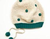 Turquiose and creamy polka dots slouchy hat in ecofriendly llama wool