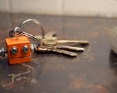 Orange Robot Key Chain, Geek Key Ring