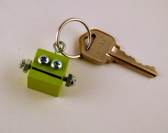 Robot Key Ring, Retro Functional Art, Kiwi Green, Key Chain