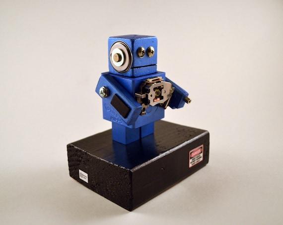 Metallic Blue Robot, Modern Decor Found Object Art for Geeks, Mini Sculpture for office desk