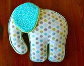 Elephant Pillow Blue and Green