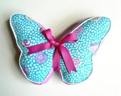 Butterfly Pillow Aqua & Lavender