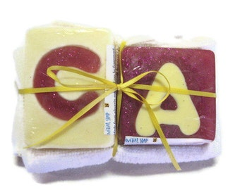 Initial Soaps with face towel or scrubbies