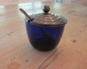 Cobalt Blue Condiment Jar with Spoon.