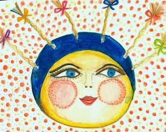 ORIGINAL Moon Maiden watercolor