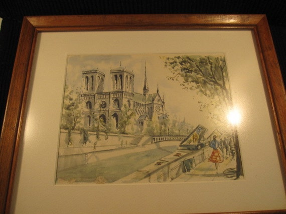 Vintage Notre Dame and French River Seine Watercolor Print