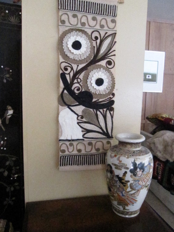 Vintage Mid Century Hand Made Wall Hanging Flower Power