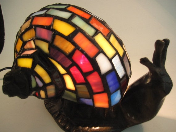 Vintage Stained Glass Snail Lamp Tiffany Style