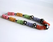Colorful Beaded Necklace in Hot Tropical Colors