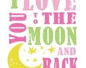 I Love You To The Moon And Back Subway Art Nursery Wall Art INSTANT DOWNLOAD 12 Digital printable files 8x10 JPEG Files