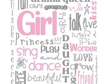 SALE* All Girl Subway Art for Nursery or Bedroom Print 8X10 Multiple Colors and Sizes Available