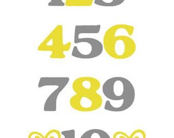 Numbers Digital Nursery Wall Art Decor PRINTABLE 8x10 JPEG File Multiple Colors Available