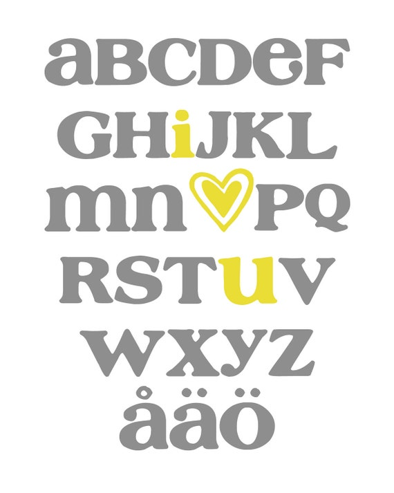 Swedish ABC Alphabet Art ( I Love You ) Digital Nursery Wall Art PRINTABLE 8x10 JPEG File Multiple Colors and Fonts Available