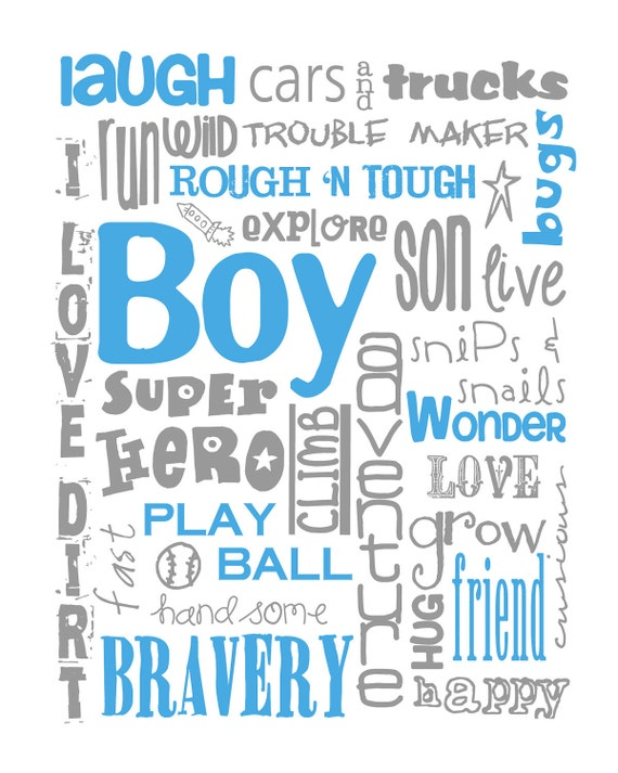 All Boy Subway Art Print 8X10 for Nursery or Bedroom Multiple Colors Available