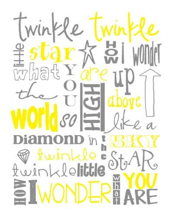 Items similar to twinkle twinkle little star nursery subway art instant download set of eight