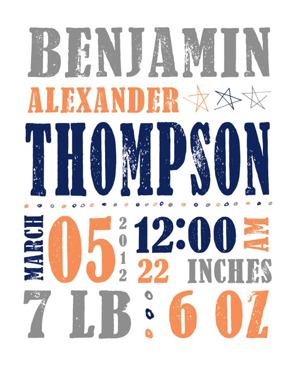 Birth Date Baby Boy Stats Nursery Wall Art Customized 8x10 PRINT for New Baby Boys