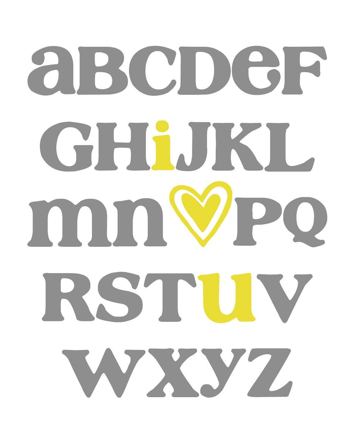 Abc alphabet art i love you digital nursery wall art for Alphabet wall decoration