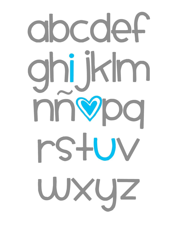 Spanish ABC Alphabet Art I Love You Digital Nursery Wall