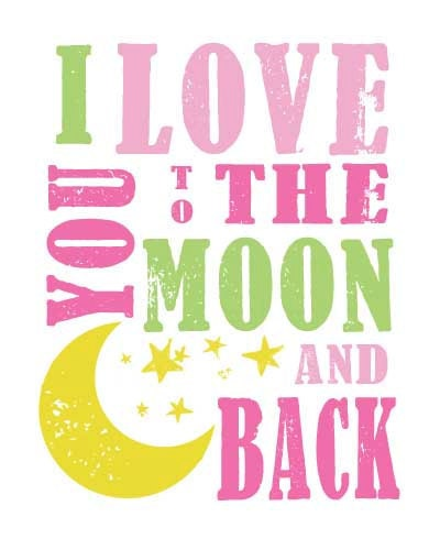 i love you to the moon and back subway art nursery wall art. Black Bedroom Furniture Sets. Home Design Ideas