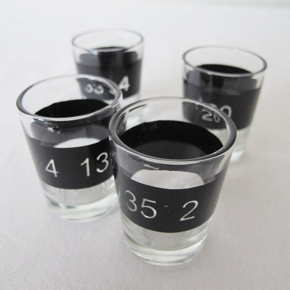 SALE Helvetica is out, Univers is in - Numerology shot glasses Treasury item