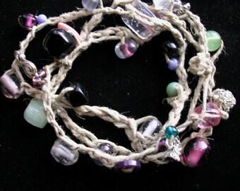 Multi colored Hemp crocheted wrap bracelet