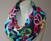100% Cotton Jersey Infinity Circle Loop Scarf PEACE
