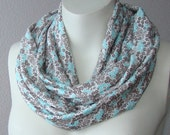 Jersey Cotton Infinity Scarf Circle Tube Loop Cowl Scarf Turquoise Flowers Floral Brown White Scarf