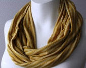 Mustard Yellow Jersey Infinity Scarf Circle Loop Cowl Tube Scarf Gold Stripes Striped Scarf