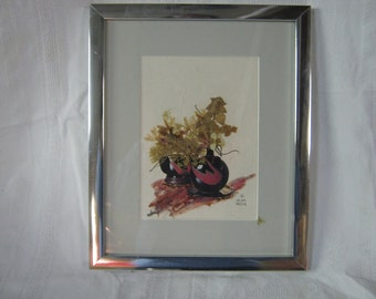 vintage mixed media framed art