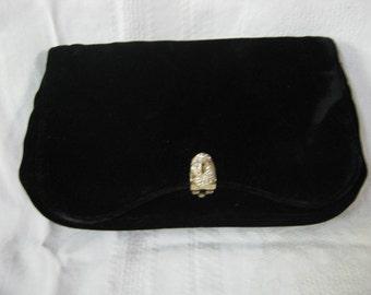 Vintage rayon velveteen clutch, rhinestones, black,reduced