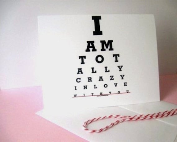 Boyfriend birthday card, I love you card-I am Totally Crazy in Love with You-handmade card