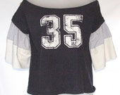 Maine Girl Eco Fashions. Camden T-Shirt. Upcycled. Repurposed.  Bell Sleeve. OOAK. Number 35