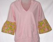 Maine Girl Eco Fashions Upcycled. Repurposed. Little Pink Hoodie Sweatshirt. Bell Sleeve. OOAK