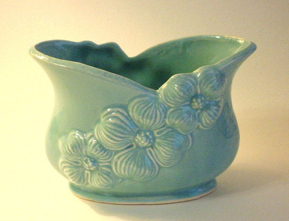 Vintage Heavy Ceramic BRUSH USA Planter- Dogwood Blossoms, Deep Turquoise, Cottage Chic