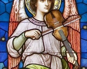 The Angel With Violin, 5 x 7 blank card, stained glass art, St. Mary Parish, Mt. Angel Oregon, Rick Keating Photo, Etsy - Beautiful Archival Giclee Print