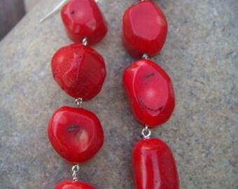 Red Earrings - Red Coral Earrings - Long Dangle Earrings - Sterling Silver - Handmade