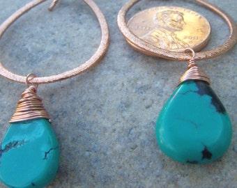 Copper Turquoise Earrings - Hammered Copper Earrings - Turquoise Teardrop Dangle Earrings - December Birthstone