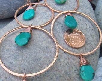 Large Turquoise Earrings - Turquoise Copper Earrings - December Birthstone- Long Dangle Earrings - Hammered Hoop Earrings