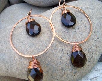 Smoky Quartz Earrings - Large Hoop Earrings - Hammered Copper Earrings - Large Dangles