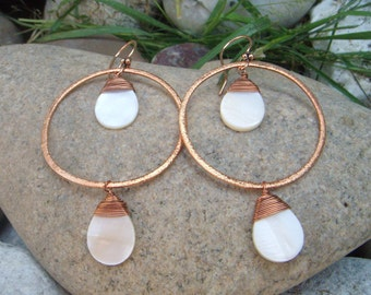 Large Hoop Earrings - Mother of Pearl Shell - Hammered Copper -  Big Dangle Earrings