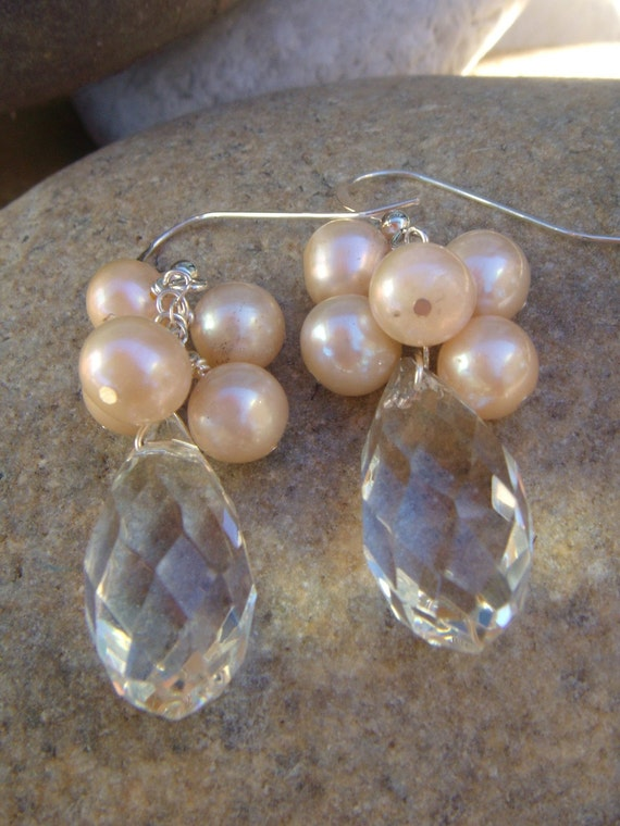 Crystal Drop Earrings - Peach Pearl Cluster Earrings - Grapevine - Handmade